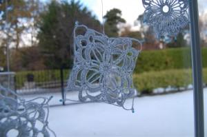 Diamond crochet snowflake
